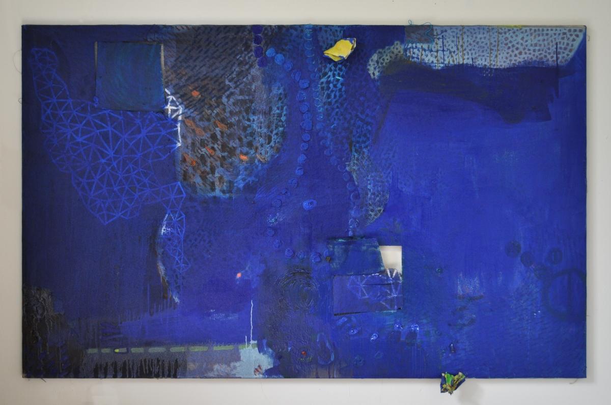 Julia Hinterberger Liquide Moderne Gescheitertes Bild in Blau
