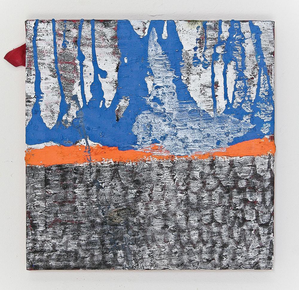 Julia Hinterberger, Gebirge, Mischtechnik auf rotem T-Shirt, 30 x 30 cm, 2014