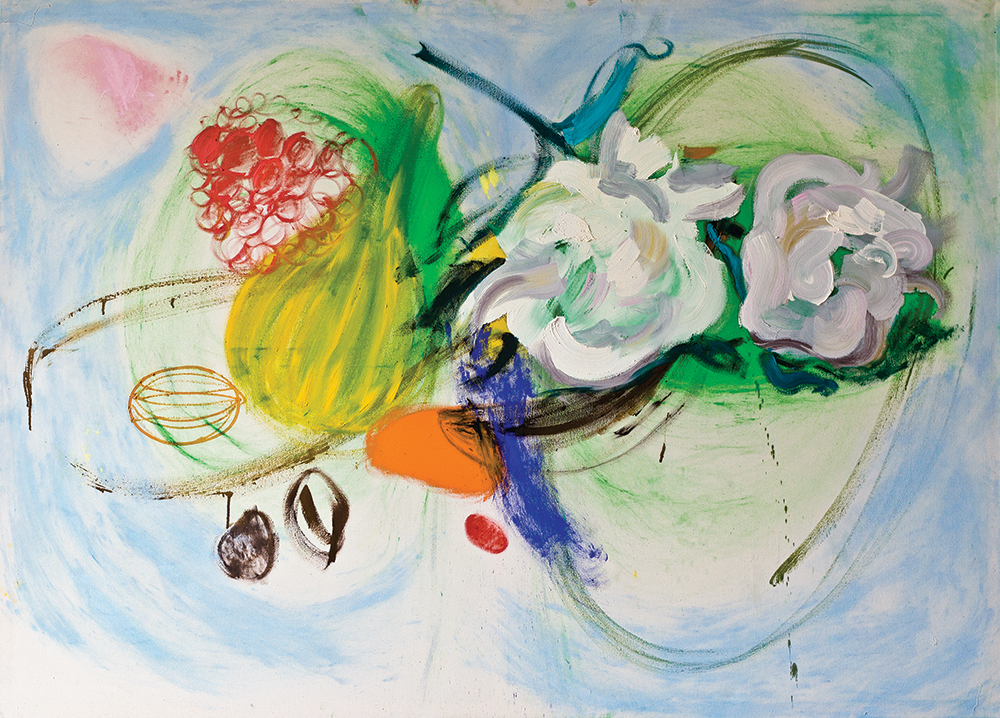 Julia Hinterberger, Großes Stillleben (Obstteller), Öl und Pigment auf Leinwand, 150 x 210 cm, 2014