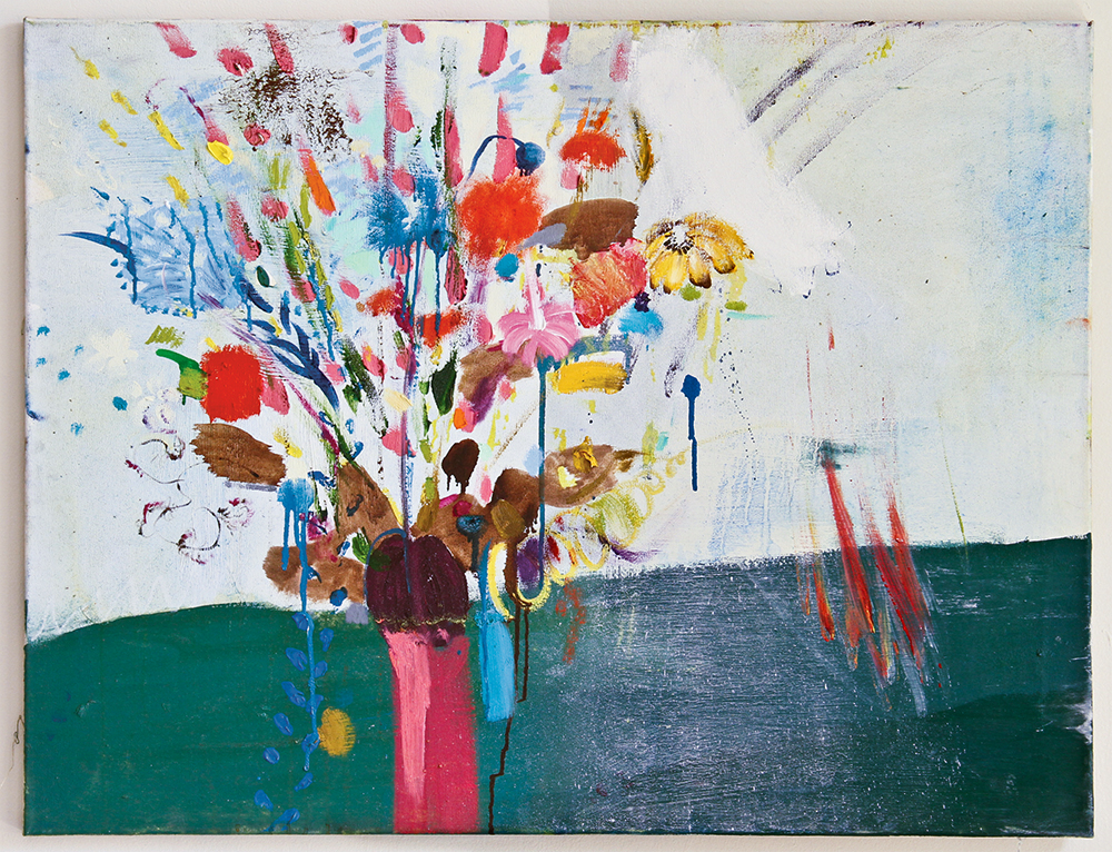 Julia Hinterberger, Odilon Redon Ejakulation, Öl und Pigment auf Leinwand, 90 x 70 cm, 2014