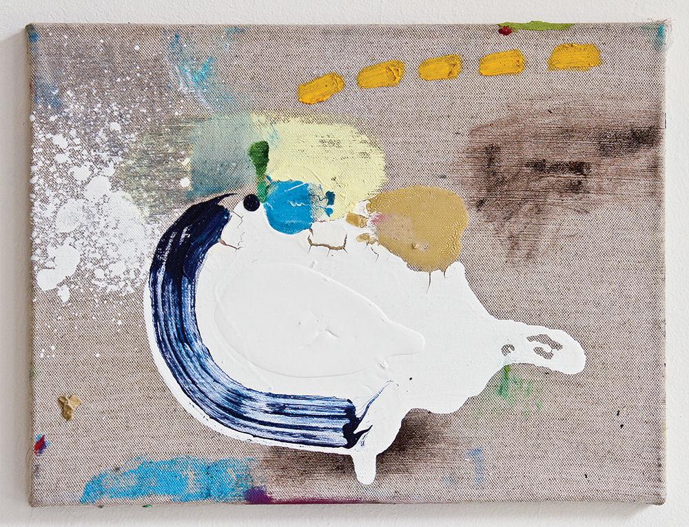Julia Hinterberger, Raumschiff, Mischtechnik auf Leinwand, 40 x 30 cm, 2014