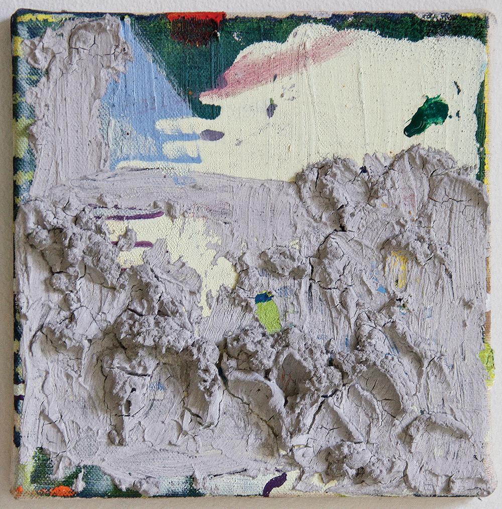 Julia Hinterberger, Richard Long, Mischtechnik auf Leinwand, 20 x 20 cm, 2014