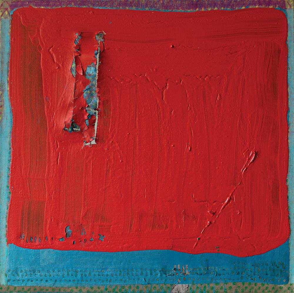 Julia Hinterberger, Rotes Quadrat, Mischtechnik auf Leinwand, 70 x 70 cm, 2014