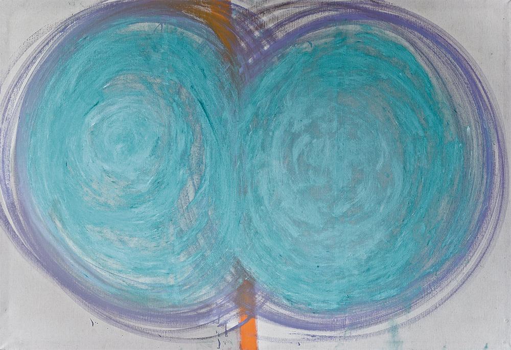 Julia Hinterberger, Türkiser Öffner, Öl und Pigment auf Leinwand, 220 x 150 cm, 2014