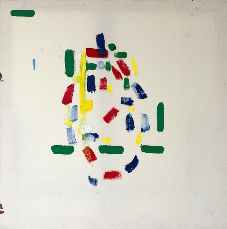 Julia Hinterberger abstrakte Eiform Öl auf Leinwand 70 x 70 cm 2010