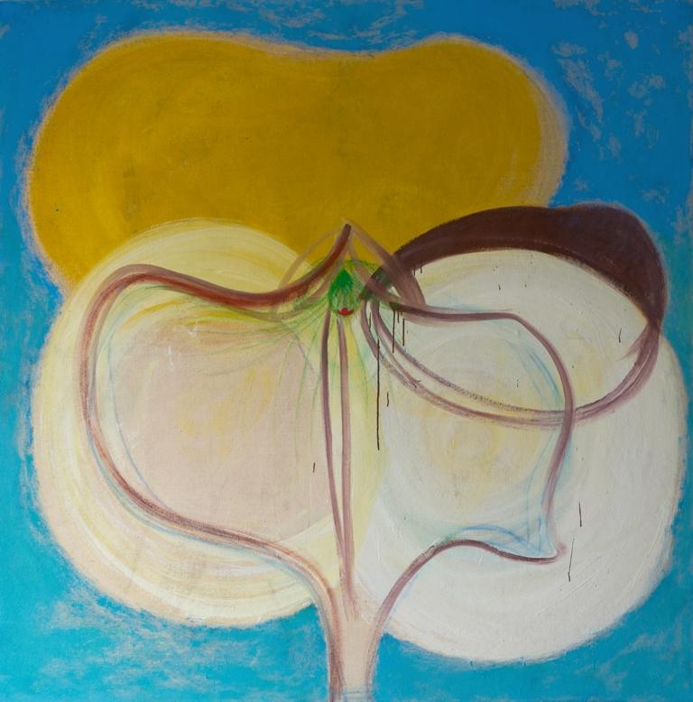 Julia Hinterberger, Öffner (Let Every Pansy Bloom), Öl und Pigment auf Jute 195 x195 cm 2013