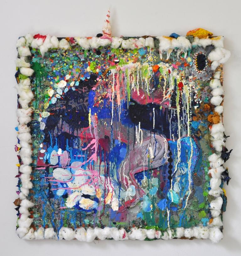 Julia Hinterberger Einhorn Kindheit Mischtechnik auf Leinwand 110 x 110 cm 2010