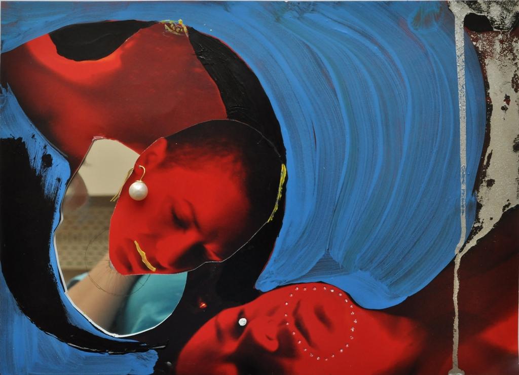 Julia Hinterberger Geburtsvorgang Collage mit Spiegel A4 2013