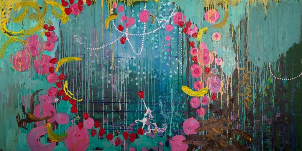 Julia Hinterberger Pornozwerge Öl auf Leinwand 100 x 200 cm 2010