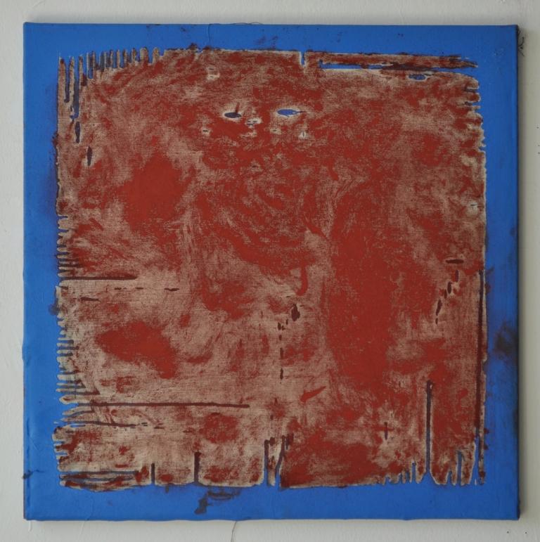 o.T. (Pigment Oxydrot bewegt begrenzt), 70 x 70 cm, 2013