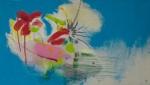 Julia Hinterberger, Explosive Wolke, Mischtechnik auf Leinwand, 40 x 70 cm, 2014