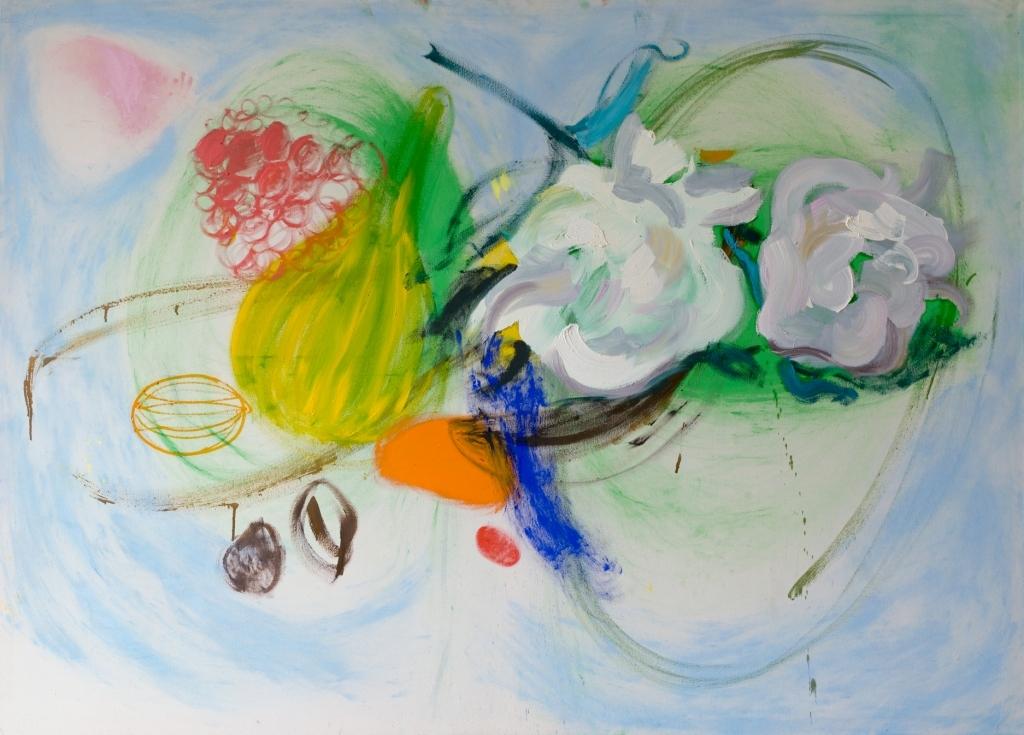 Julia Hinterberger, Großes Stillleben, Öl und Pigment auf Leinwand, 150 x 210 cm, 2014